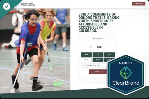 Colorado Youth Sports Foundation - StoryBrand website example